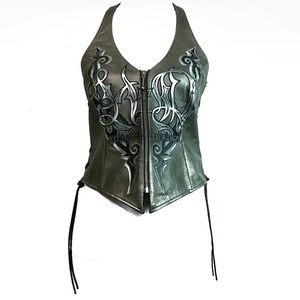 Harley Davidson Leather Corset Lace Up And Zipper